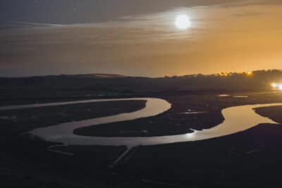 River Cuckmere at night in the moonlight