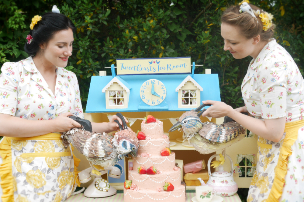 Tweethearts Show with two women, dolls house and bird puppets