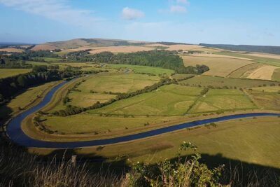 Cuckmere river in Sussex aerial view