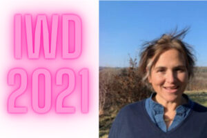 Image of woman and large pink letters IWD 2020