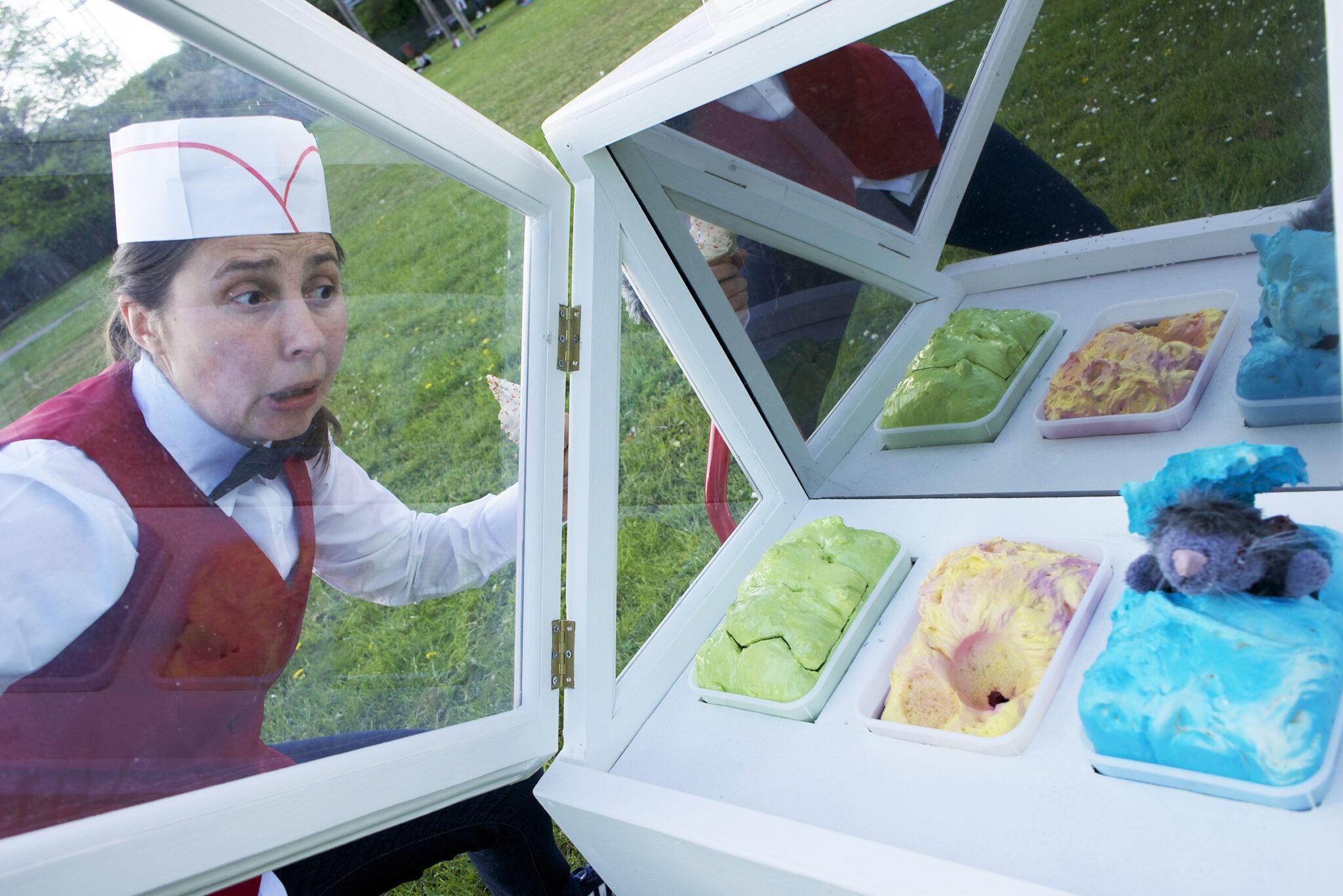 Lice cream seller looking at Ice Creams