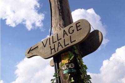 Village Hall Wooden Sign