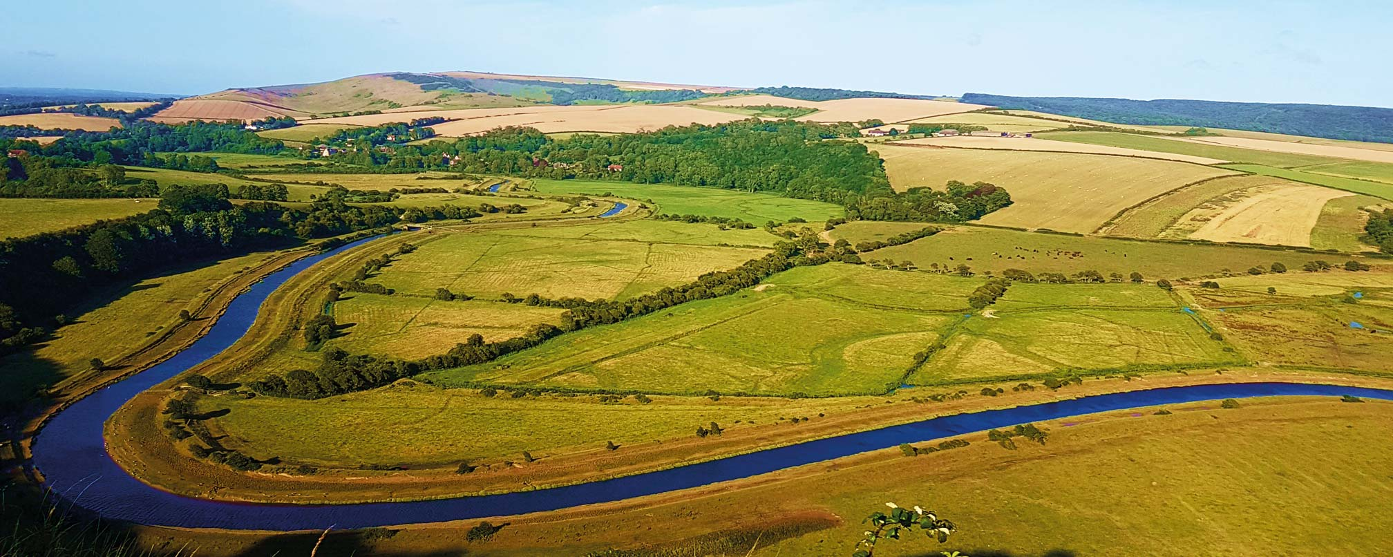 View of the winding Cuckmere River from the air