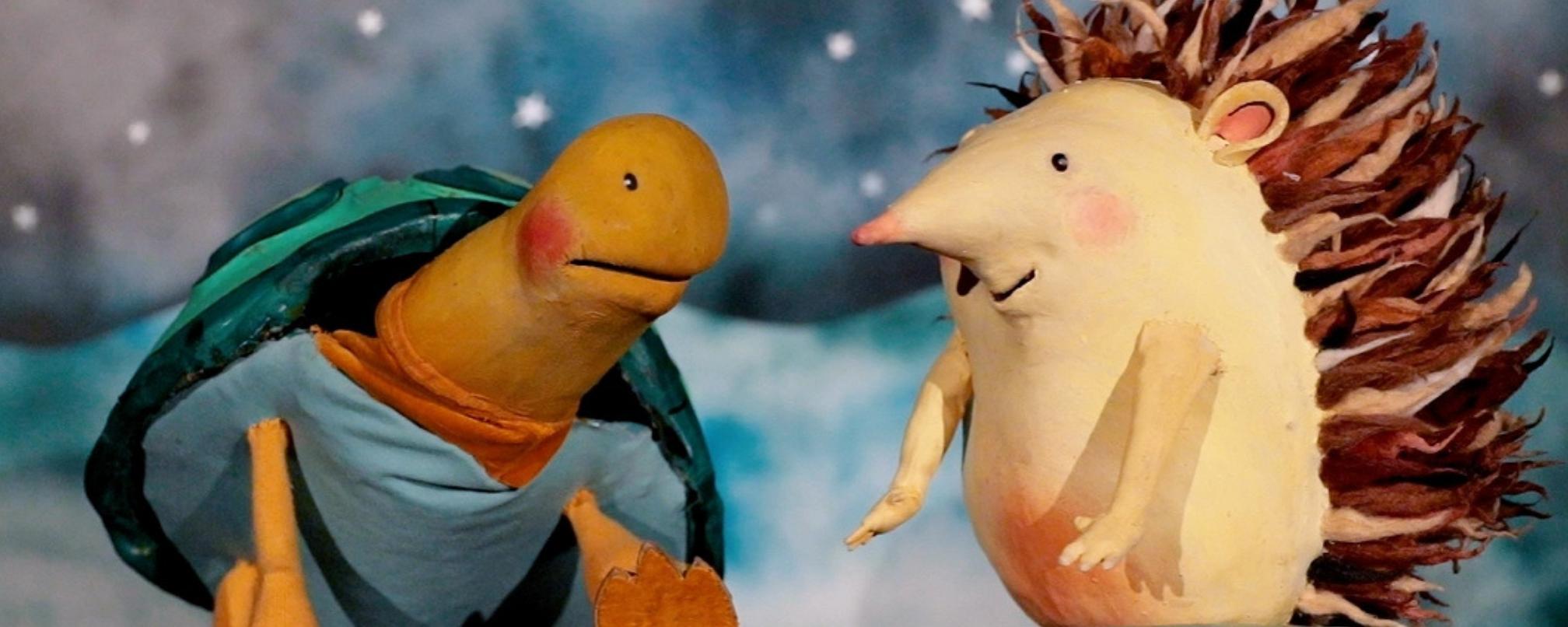 Hedgehog and tortoise puppet